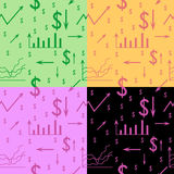 Seamless pattern, background with dollar, schedule, arrow, chart, system of coordinates Stock Image