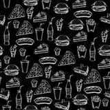 Seamless pattern background fast food. Stock Photography