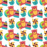 Seamless pattern background full kid toys cartoon cute graphic play  Royalty Free Stock Images