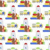 Seamless pattern background full kid toys cartoon cute graphic stuff play childhood baby room vector illustration Stock Photos