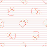 Seamless pattern background with gold glitter hearts. Vector illustration. Love concept.  Royalty Free Stock Photos