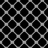 Seamless pattern, background, gray rope woven in the form fishing ne. T, isolated on black background stock illustration