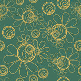 Floral Seamless Dark Green. Seamless pattern background with a green shade background and golden brown elements royalty free illustration