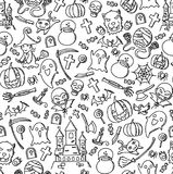 Seamless pattern background Halloween kids hand drawing set. Illustration isolated on white background Stock Photos
