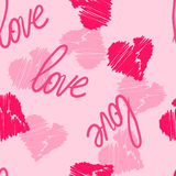 Seamless pattern background with hand-drawing hearts and love word for use in design for valentines day or wedding Stock Photography