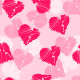 Seamless pattern background with hand-drawing hearts for use in design for valentines day or wedding Stock Photos