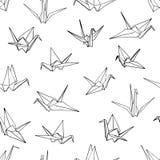 Seamless pattern background of hand drawn doodle crane birds Stock Photo