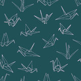 Seamless pattern background of hand drawn doodle crane birds Royalty Free Stock Photo
