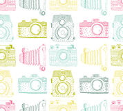 Seamless pattern background with hand drawn ornamental retro cameras. Vector illustration Royalty Free Stock Image