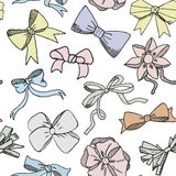 Seamless pattern background with handdrawn bows vector illustration Stock Photos