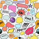 Seamless pattern background with handdrawn comic book speech bubbles Royalty Free Stock Image