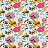 Seamless pattern background with handdrawn comic book speech bubbles, vector illustration Stock Images