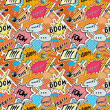 Seamless pattern background with handdrawn comic book speech bubbles, vector illustration Stock Photos