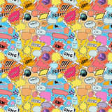Seamless pattern background with handdrawn comic book speech bubbles, vector illustration Royalty Free Stock Photos