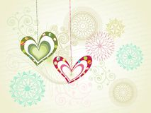 Seamless pattern background with hanging heart Royalty Free Stock Photos