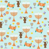 Seamless pattern background with Hanukkah traditional elements in flat style. Holiday Hanukkah  background Royalty Free Stock Photos
