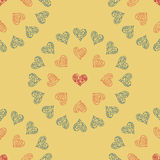 Seamless pattern background heart. Blue, Orange and Red color. Stock Photos