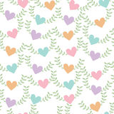 Seamless pattern background of heart shape with green leaf Royalty Free Stock Photo