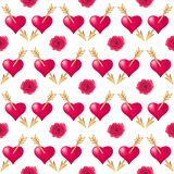 Seamless pattern background with hearts pierced by golden arrows and roses. Valentines Day holidays typography. vector illustration
