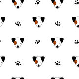 Seamless pattern background illustration with cartoon jack russell and paw print Royalty Free Stock Photography