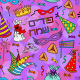 Seamless pattern background for Jewish holiday Purim Royalty Free Stock Photography