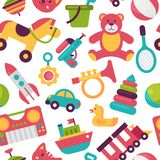 Seamless pattern background kid toys cartoon play childhood baby room vector illustration Royalty Free Stock Images