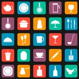 Seamless pattern. Background with kitchen utensils. Set of colored icons,  illustration Stock Image