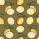 Seamless pattern background with lemons, colorful illustration. Vector EPS10 vector illustration