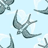 Seamless pattern background with linear swallows. royalty free illustration