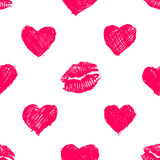 Seamless pattern background with lipsticks prints and doodle hea Stock Image