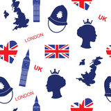 Seamless pattern background with London landmarks and Britain symbols vector illustration Royalty Free Stock Photos