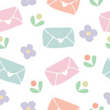 Seamless pattern background of love letter and flower Stock Photography