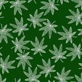 Seamless pattern background marijuana. Zen tangle and doodle hashish. Royalty Free Stock Image
