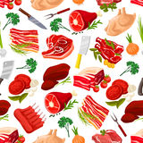Seamless pattern background of meat products Royalty Free Stock Photos