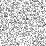 Seamless pattern background Merry x& x27;mas, Christmas symbol icon kids hand drawing set illustration. Isolated on white background Royalty Free Stock Photography