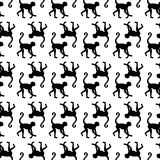 Seamless pattern background with monkeys. Symbol of 2016 year. Black and white monkey texture. Monkey silhouette icon Stock Photos