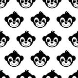Seamless pattern background with monkeys. Symbol of 2016 year. Cute baby monkeys. Black and white baby animal illustration Royalty Free Stock Photography