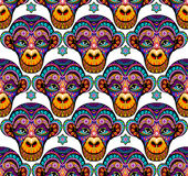 Seamless pattern background with monkeys. Symbol. Of 2016 year. Vector Stock Image