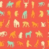 Seamless pattern background with monkeys. Stock Photo