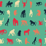 Seamless pattern background with monkeys. Royalty Free Stock Images