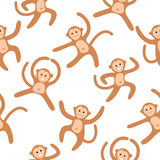 Seamless pattern background with monkeys. Symbol of 2016 year. Vector illustration Royalty Free Stock Photos
