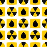 Seamless pattern background nuclear power sign vector industrial electric pollution station chimney reactor symbol. Seamless pattern background nuclear power Royalty Free Stock Images