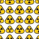 Seamless pattern background nuclear power sign vector industrial electric pollution station chimney smoke reactor symbol. Seamless pattern background nuclear Stock Photography