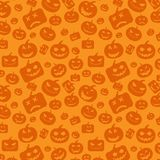 Seamless pattern background with orange halloween festive, endless pumpkins carved. Vector illustration Royalty Free Stock Image