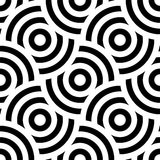 Seamless pattern background ornament of striped concentric circles. Retro mosaic of arches in black and white. Vector. Design element stock illustration