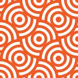Seamless pattern background ornament of striped concentric circles. Retro mosaic of arches in orange and white. Vector. Design element royalty free illustration