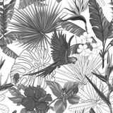 Vector seamless pattern, background with parrot and tropical plants. Seamless pattern, background with parrot and tropical plants on white background. Hand drawn stock illustration
