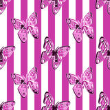 Seamless pattern background, print with butterfly. Seamless pattern srtiped background, print with butterfly stock illustration