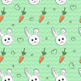 Seamless pattern, background with rabbits and carrots for easter and other holidays. White rabbit with orange carrot. Cute seamless pattern, background with vector illustration