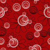 Floral Seamless Red Black White. Seamless pattern background with a red background and black and white elements vector illustration